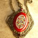 ANtique RED micromosaic Necklace original chain and bale millefiori flowers