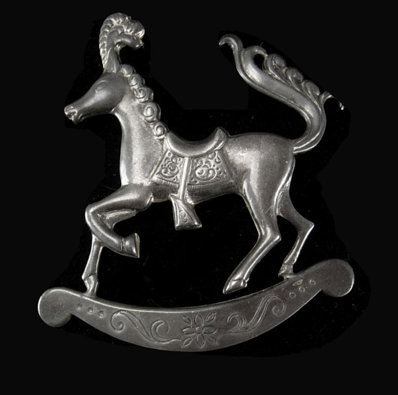Vintage sterling Carousel  Horse brooch signed Figural