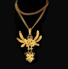 Vintage Bizarre Mask Necklace Talisman Cacaxtla Quetzalcoatl Mayan