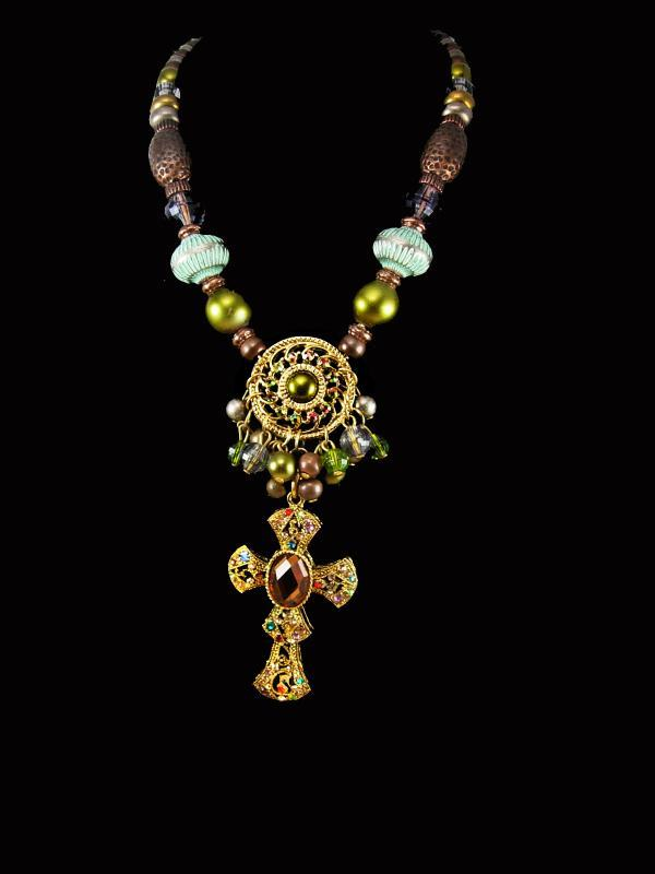 Gypsy Rosary bohemian necklace chunky tribal and rhinestone sparkles