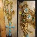 Gothic Lion Turquoise chandelier necklace Huge Cross Medieval tassels