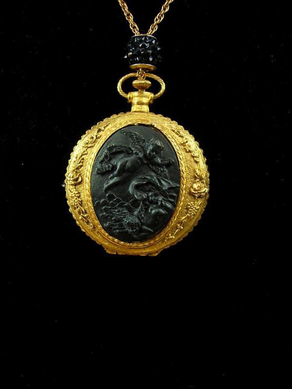 Victorian Cherubs pocketwatch locket necklace with Fleur de lis