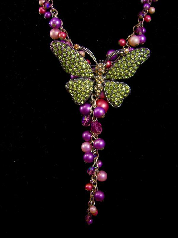 Stunning Bohemian Rhinestone butterfly necklace earrings pearl chandelier drops purple pink brooch