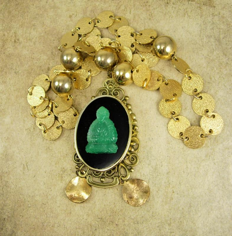 Vintage Buddha Necklace ornate chain