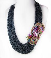 Rhinestone statement Necklace HUGE brooch pendant beaded collar