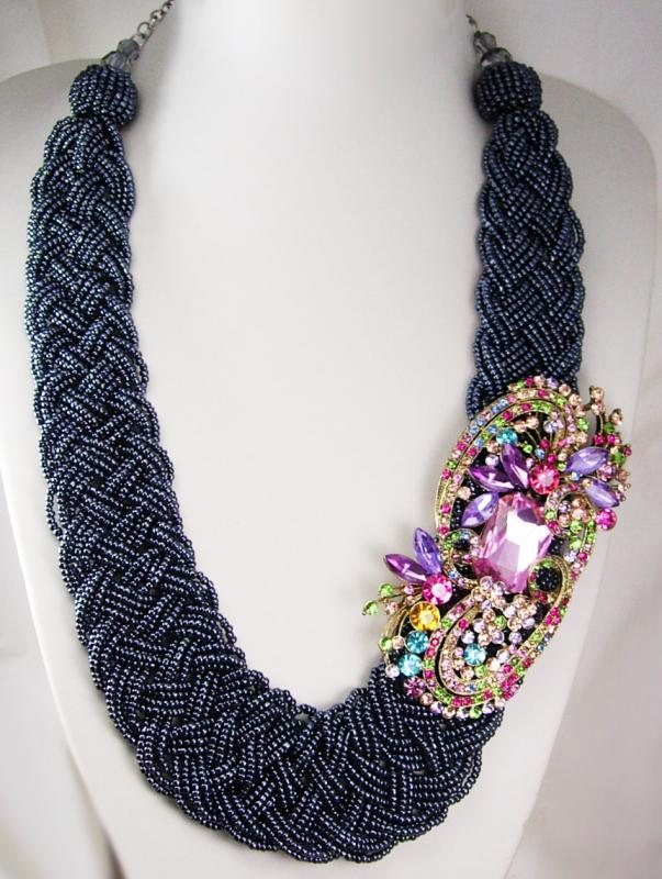 Rhinestone statement Necklace HUGE brooch pendant beaded collar