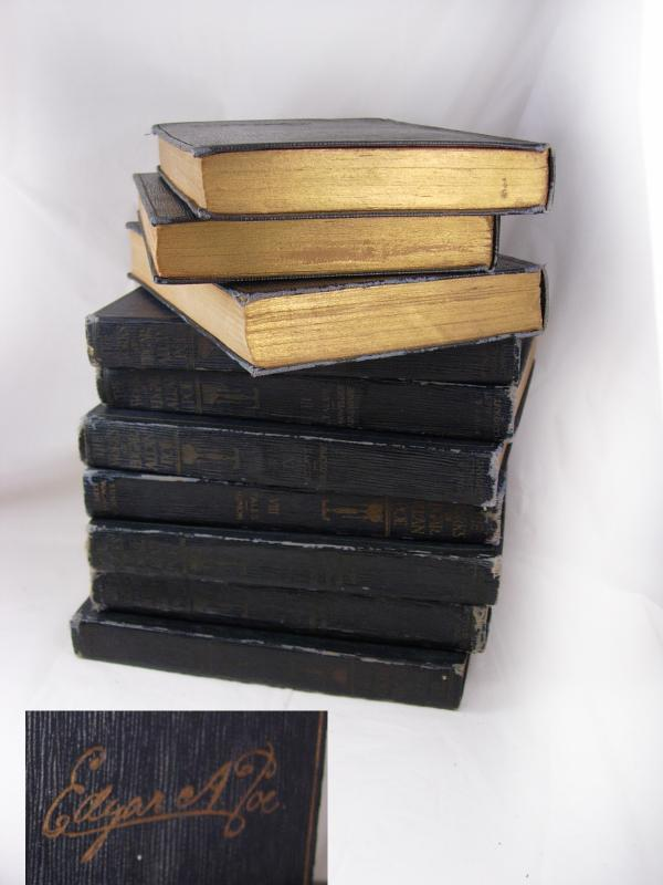 Antique books Poe 1904 The Works of Edgar Allan Poe 10 miniature volumes all original gilded pages