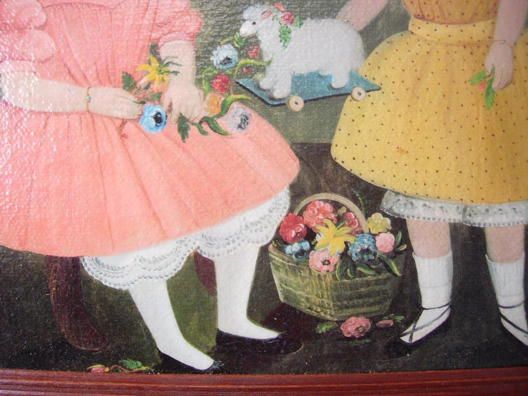 Miniature Painting The Burnish Sisters William Matthew Prior framed in Cherry wood