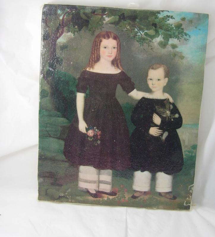 Miniature Jefferson Gauntt Painting Two children Antebellum period Folk art