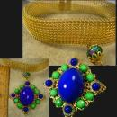 Fabulous Rhinestone statement necklace collar Cobalt and green