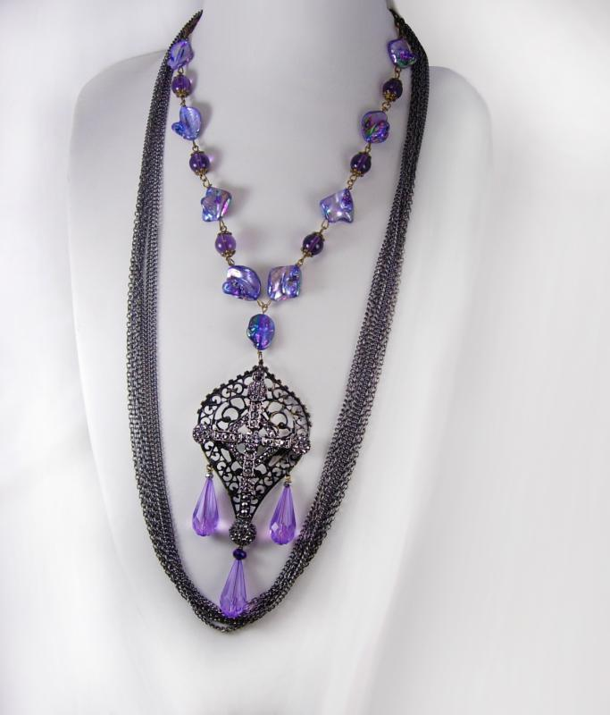 Purple Gothic Cross Drop Necklace set huge marcasite cross layered gunmetal chain