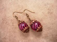 Gypsy Burlesque chandelier earrings pink stripe drops