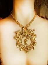 HUGE Medusa and Gargoyle NEcklace mythology galore with goth revival