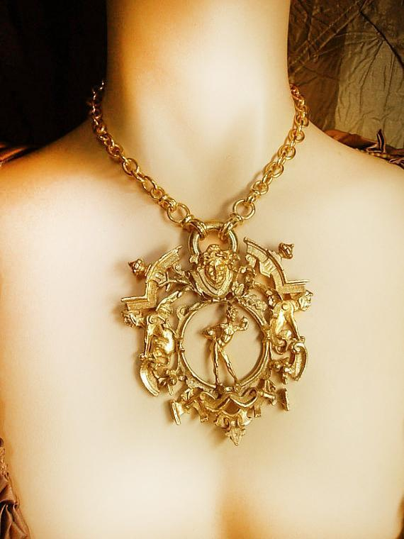 HUGE Medusa and Gargoyle NEcklace mythology galore with goth revival