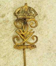 ANtique Stickpin Crown & Crest Victorian