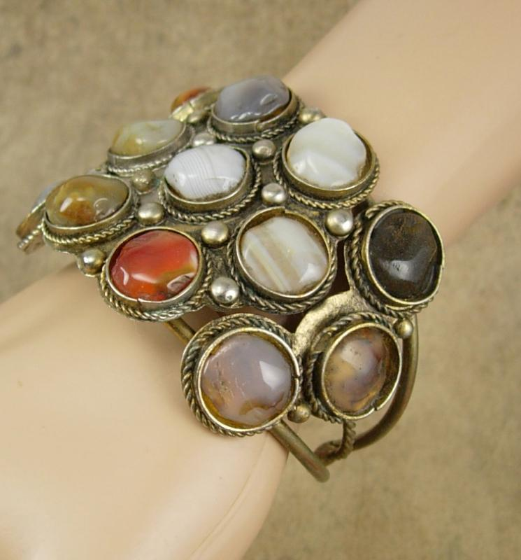 VIntage Bracelet Gemstone cuff bangle Hippie era