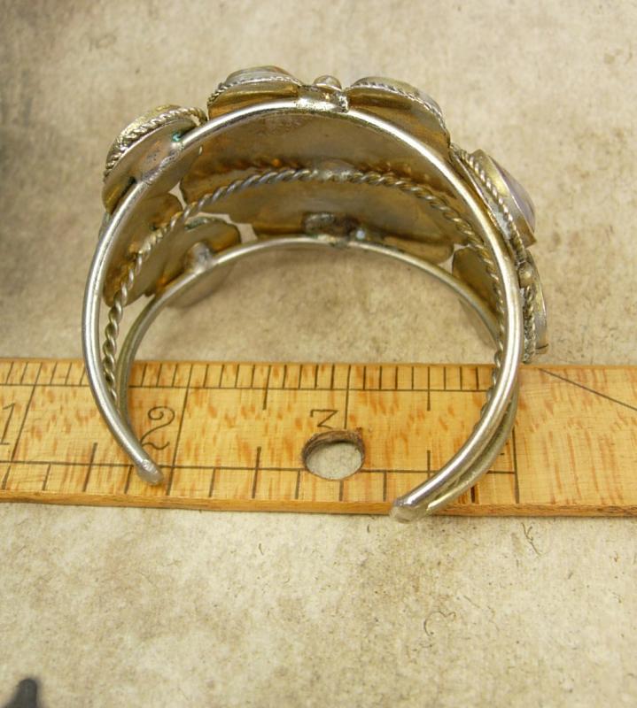 VIntage Bracelet Gemstone cuff bangle Hippie era