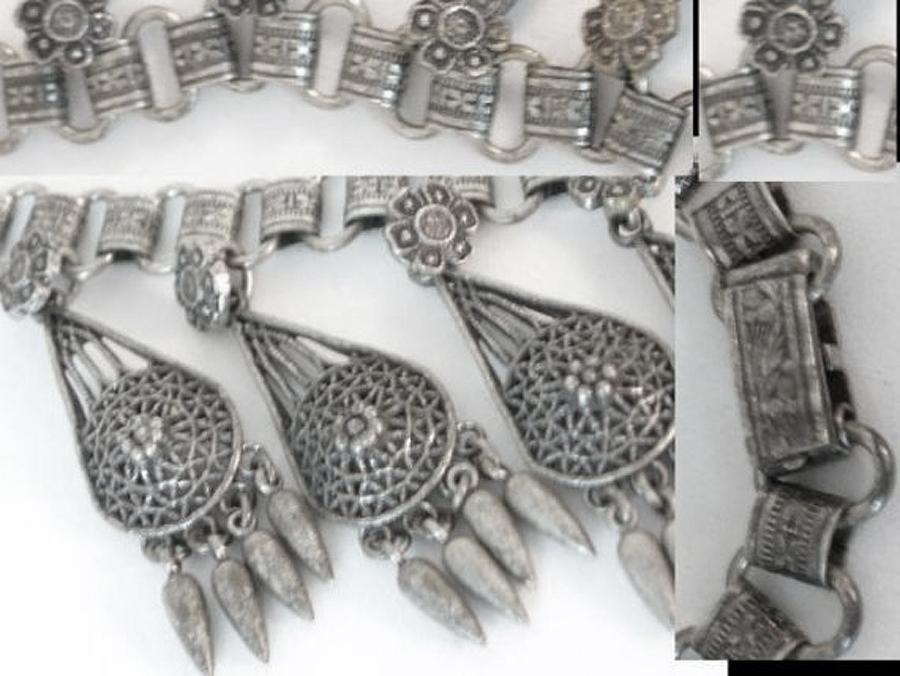 Vintage Victorian Bookchain Mucha Necklace