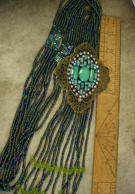 Stunning Flapper Necklace turquoise bohemian tassels statement piece