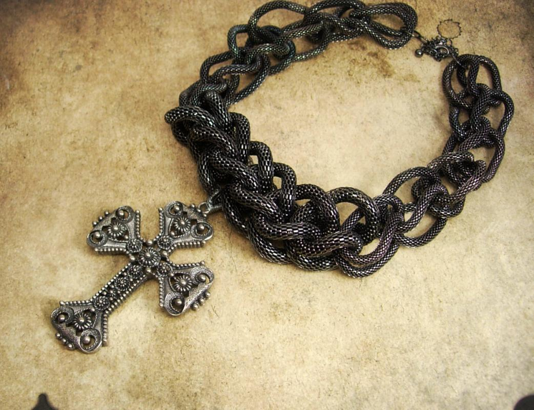 Rosary Necklace Huge Gothic Cross Etruscan gunmetal snake chain
