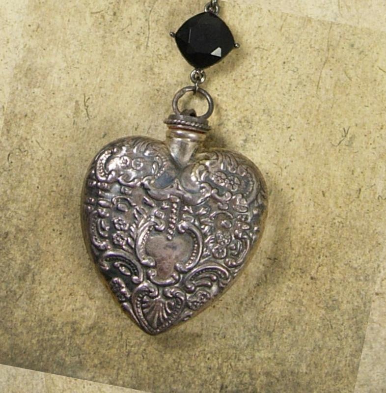 Sacred Heart Necklace Antique Sterling Victorian perfume pendant religious medals