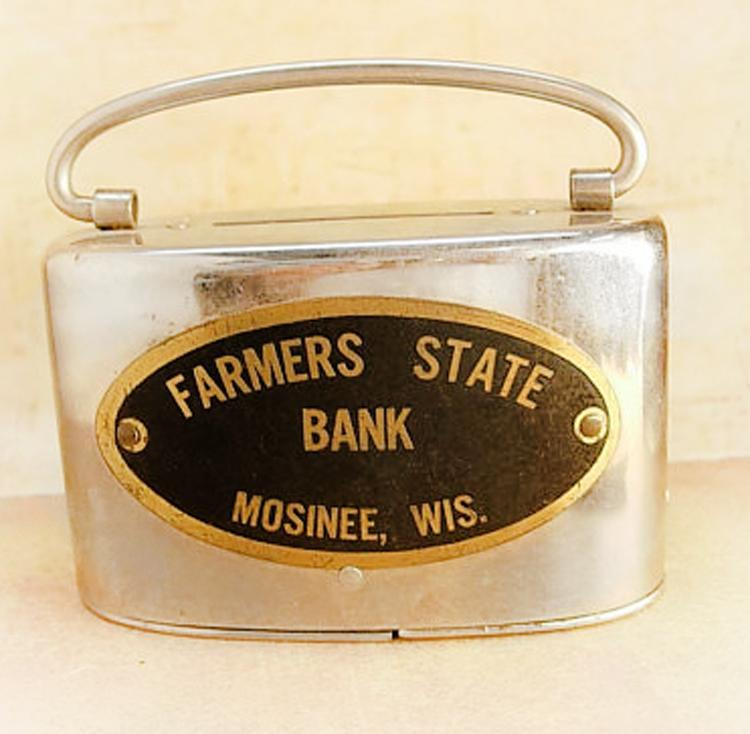 Vintage Bank purse Advertising with history Farmers state bank with money inside