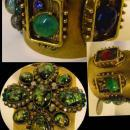 Gothic Cuff Bracelet Faux floating opal medieval dramatic