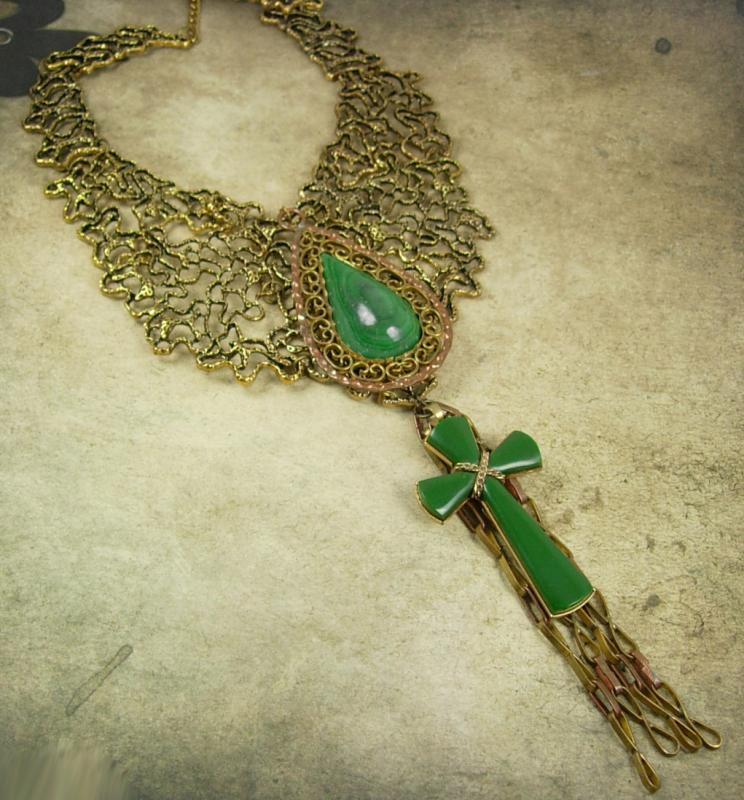 Statement necklace Malachite cross with huge tassels Dramatic