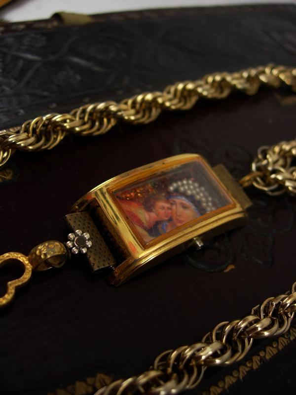 Shrine necklace with holy cross relic and miniature pearl virgin Mary & child portrait