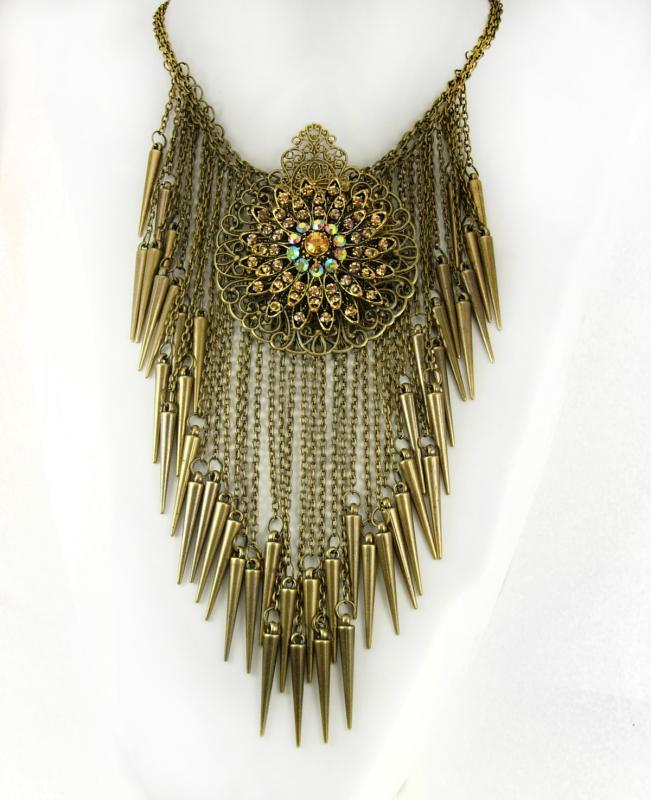 Bohemian necklace Rhinestones and tassels statement choker
