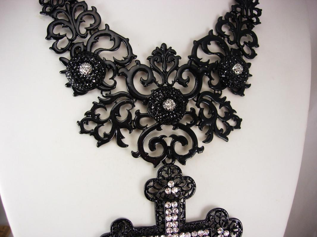 Gothic cross necklace black bib with HUGE pendant in rhinestones