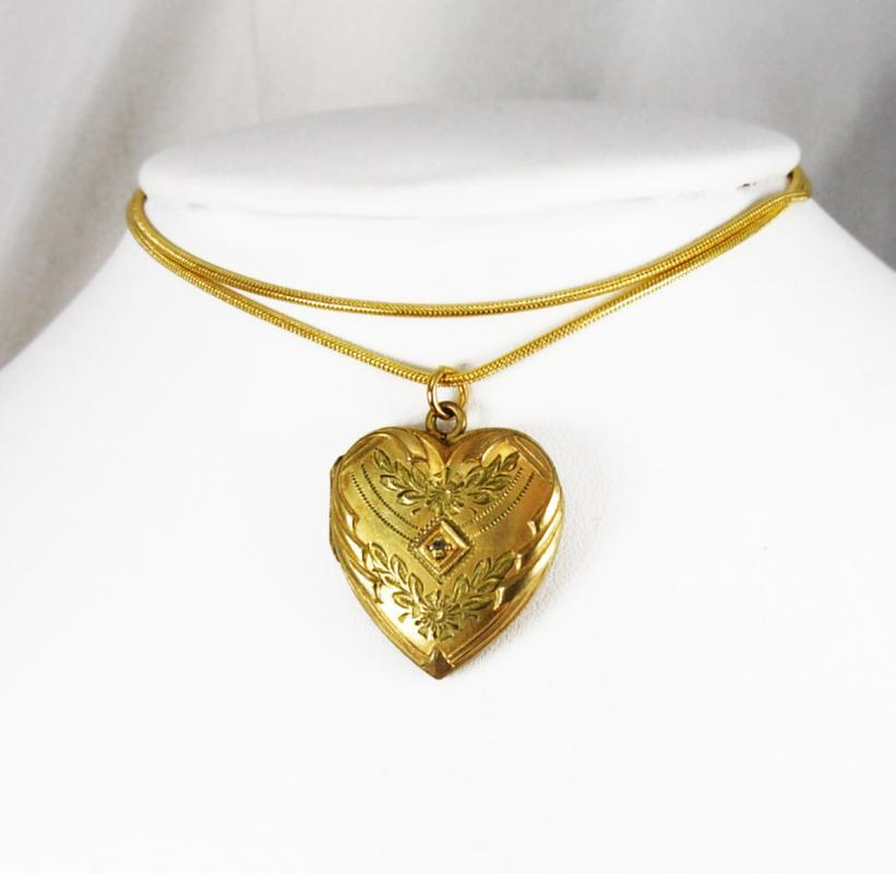 Antique heart locket diamond center yellow green and rose gold sweetheart