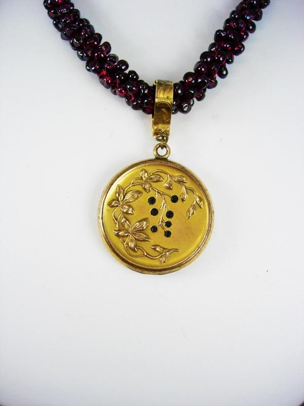 Antique Garnet necklace Paste victorian locket pendant rose gold filled