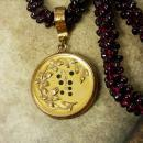 Antique Garnet necklace Paste victorian locket pendant rose gold filled