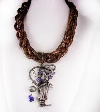 Snake necklace Serpent Goddess Gothic choker in copper statement piece