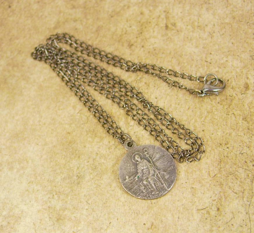 Saint Peregrine Medal necklace Religious protection for cancer and illness