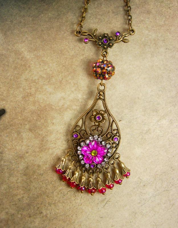 Bohemian Necklace Pink Chandelier Gypsy rhinestone pendant