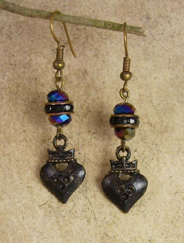 Gothic earrings Black sacred heart crown drops
