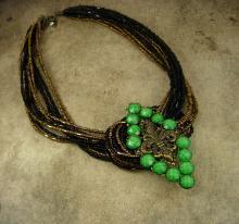 Fleur de lis Necklace Jeweled Green buckle multi strand beadwork