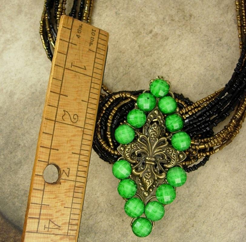 Fleur de lis Necklace Jeweled Green buckle multi strand beadwork