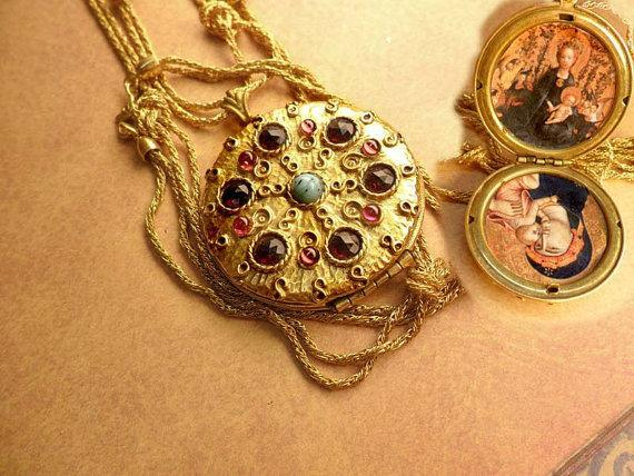 Edwardian locket Vintage jeweled religious Icon portraits and woven chain