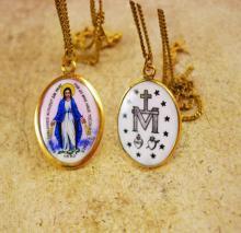 Antique Icon necklace 1830 Hungarian Enamel Miraculous Portrait GOLD Vintage Sacred Heart