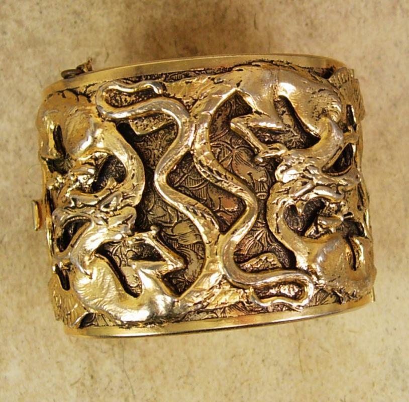 Dragon bracelet Vintage HUGE cuff bangle mythical creatures