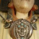 SPiritual Necklace Turquoise Indian head huge pendant silver talisman necklace