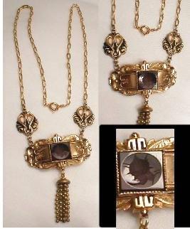 Victorian Carnelian CAMEO Tassle necklace