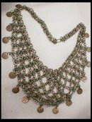 Egyptian Revival silver turquoise  bib necklace