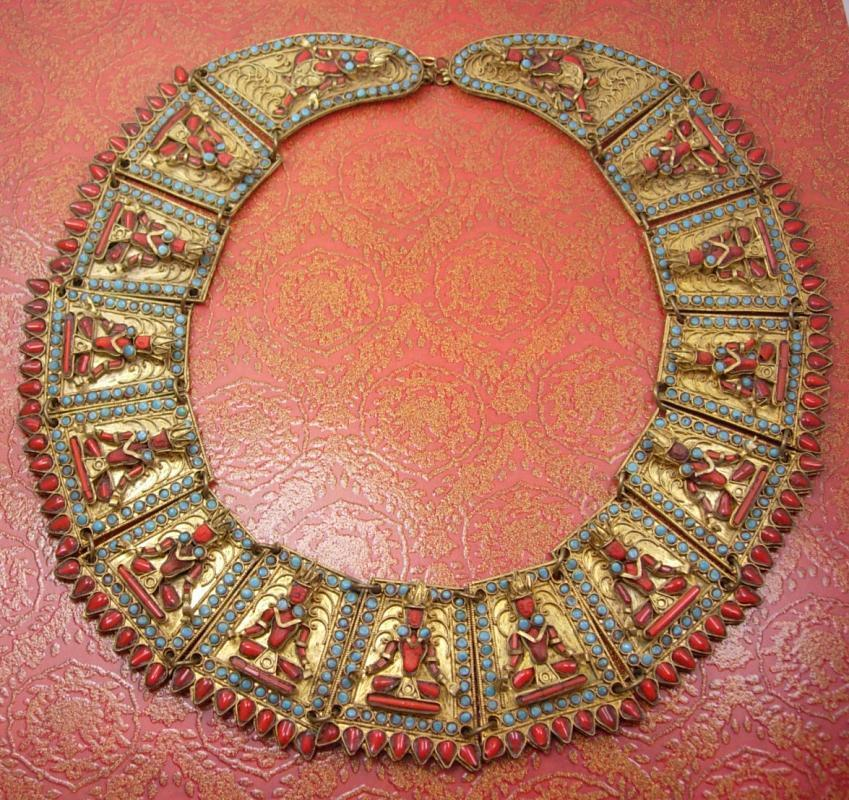 Nepalese Necklace Huge Primitive Egyptian Revival CORAL Goddess wedding  Collar Newari  Kathmandu, Nepal