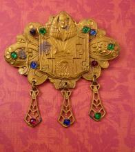 Grand Tour Egyptian Revival Brooch Sash Pin Pharaoh Czech jewels King Tut