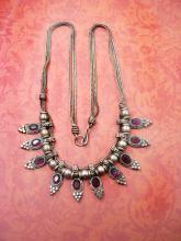 Vintage Byzantine Garnet slide festoon necklace woven silver chain collar