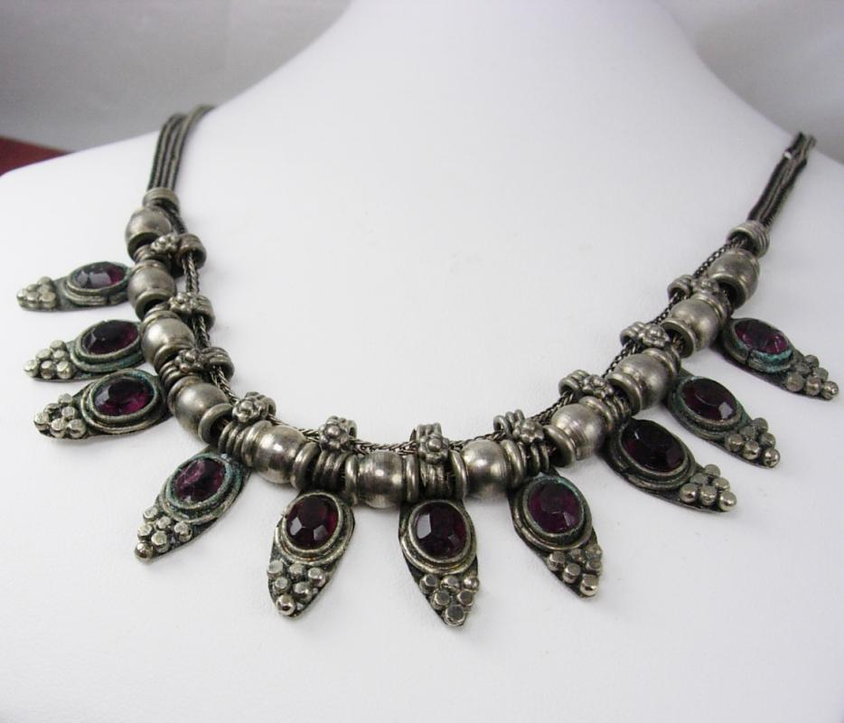 Vintage Byzantine Garnet slide festoon necklace woven silver chain collar